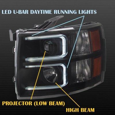 Chevy Silverado 2500HD 2007-2014 LED DRL Projector Headlights Black Smoked