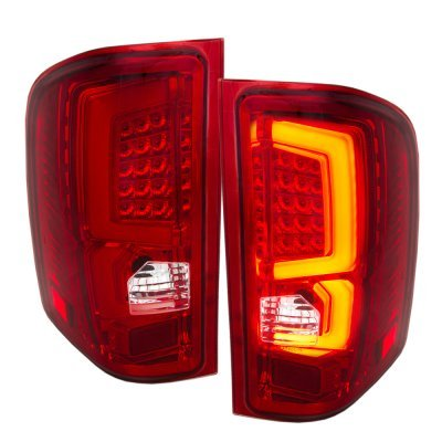 Chevy Silverado 2500HD 2007-2014 Clear LED DRL Headlights and Signature LED Tail Lights Red