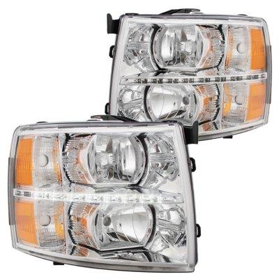 Chevy Silverado 2500HD 2007-2014 Clear LED DRL Headlights