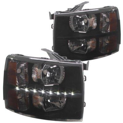 Chevy Silverado 2500HD 2007-2014 Black Smoked LED DRL Headlights