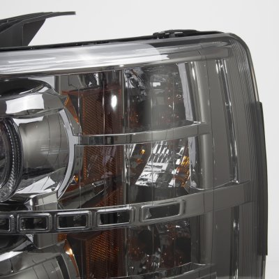 Chevy Silverado 2500HD 2007-2014 Smoked Halo LED DRL Projector Headlights
