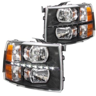 Chevy Silverado 2500HD 2007-2014 Black DRL Headlights and Tinted LED Tail Lights