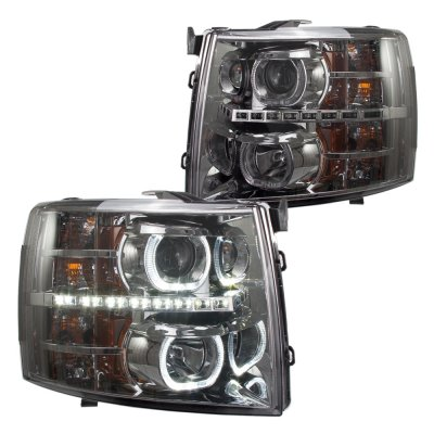 Chevy Silverado 2500HD 2007-2014 Smoked Halo DRL Projector Headlights and Signature LED Tail Lights