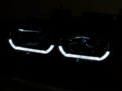 Chevy Silverado 1994-1998 Black DRL Headlights and LED Bumper Lights