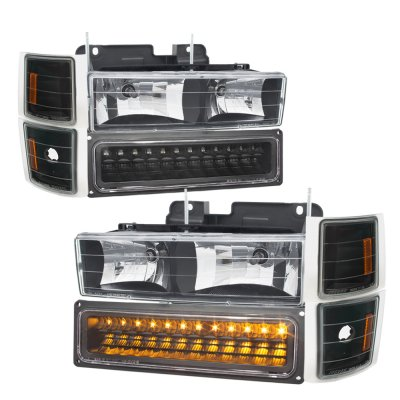 GMC Sierra 1994-1998 Black Headlights LED DRL and Custom LED Tail Lights