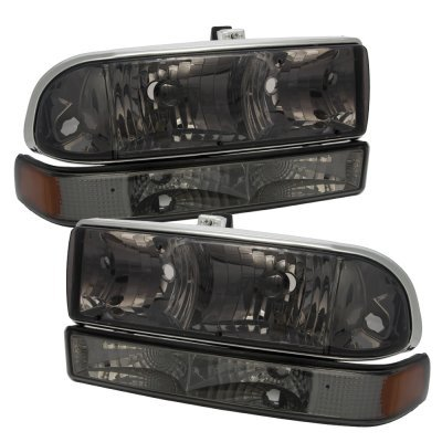 Chevy S10 1998-2004 Black Billet Grille Smoked Headlights Bumper Lights