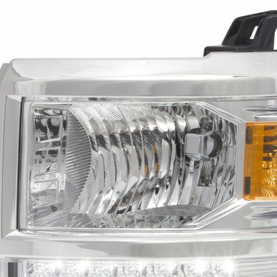 Chevy Silverado 1500 2014-2015 Chrome LED DRL Headlights and Light Bar LED Tail Lights