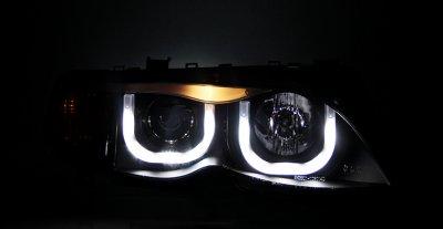 BMW 3 Series E46 Sedan 2002-2005 Black U-Bar Halo Projector Headlights