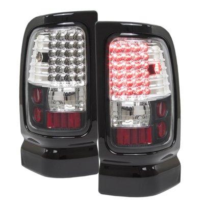 Dodge Ram 1994-2001 Black Headlights and LED Tail Lights Black Chrome