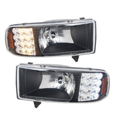 Dodge Ram 2500 1994 2002 Black Headlights Led Signal And Tail Lights Chrome