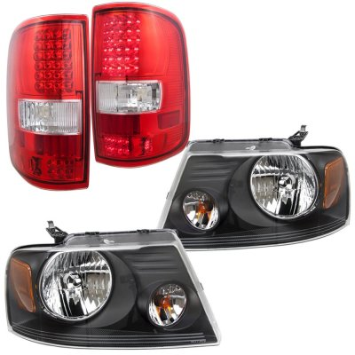 Ford F150 2004-2008 Black Headlights and LED Tail Lights Red Clear