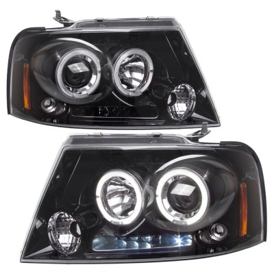 Ford F150 2004 2008 Black Tinted Halo Projector Headlights