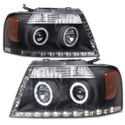 Ford F150 2004-2008 Black LED DRL Halo Projector Headlights and LED Tail Lights