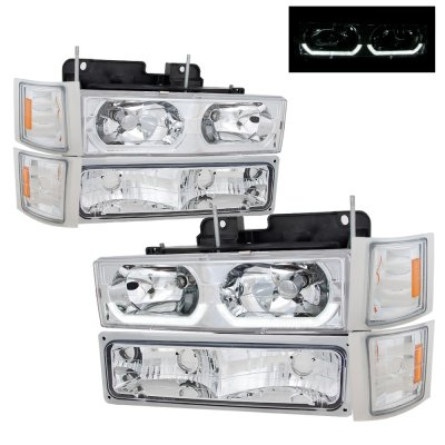 Chevy Tahoe 1995-1999 Clear LED DRL Headlights and Bumper Lights
