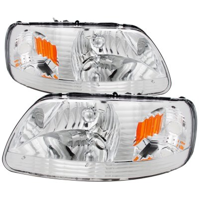 Ford Expedition 1997-2002 Chrome One Piece Headlights
