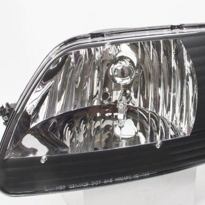 Ford F150 1997-2003 Black One Piece Headlights