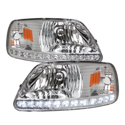 Ford F150 1997-2003 Clear Crystal Headlights LED DRL