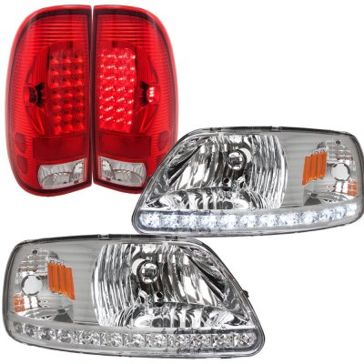 2002 Ford F150 Clear LED DRL Headlights and LED Tail Lights Red