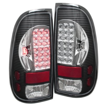 2002 Ford F150 Black Chrome LED DRL Headlights and LED Tail Lights