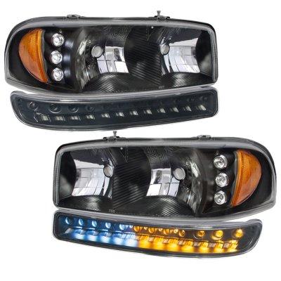 2005 gmc sierra black headlights led drl bumper lights. Black Bedroom Furniture Sets. Home Design Ideas