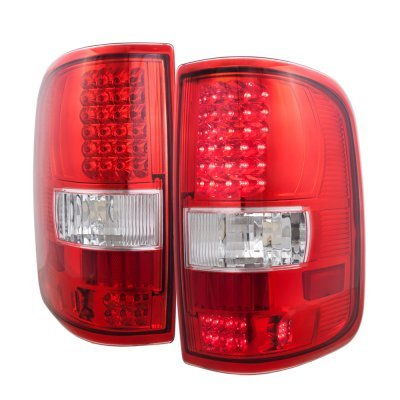 ford f150 2004 2008 smoked clear headlights and led tail lights red. Black Bedroom Furniture Sets. Home Design Ideas