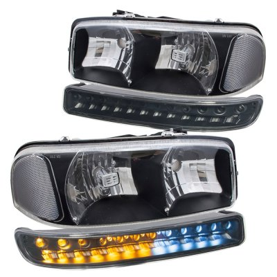 Gmc Sierra 2500hd 2001 2006 Black Clear Headlights And Led Per Lights Drl A128w20a102 Topgearautosport