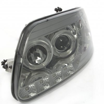 Ford F150 1997-2003 Smoked LED DRL Projector Headlights with Halo