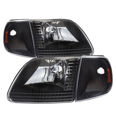 Ford Expedition 1997-2002 Black Euro Headlights and Corner Lights