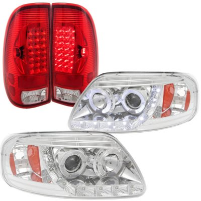Ford F150 1997-2003 Clear LED DRL Halo Projector Headlights LED Tail Lights Red Clear