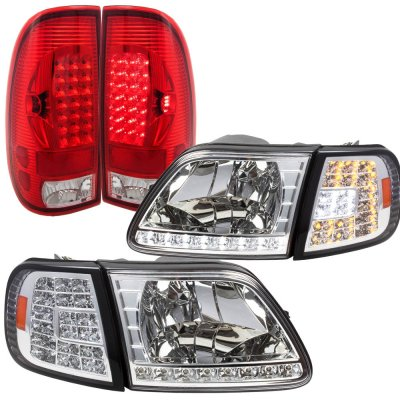 2002 Ford F150 Clear Headlights LED DRL Signal LED Tail Lights Red