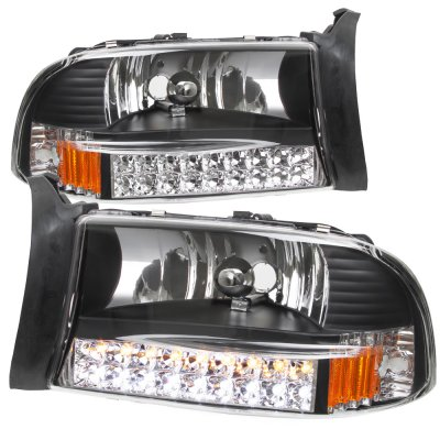 Dodge Dakota 1997 2004 Black Euro Headlights With Led Signal Lights A101grdb102 Topgearautosport