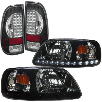 2002 Ford F150 Black Smoked LED DRL Headlights and LED Tail Lights