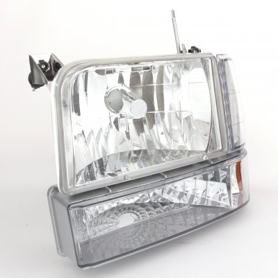 Ford F350 1992-1996 Clear Headlights and Bumper Lights Set