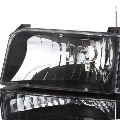Ford Bronco 1992-1996 Black Headlights and Bumper Lights Set