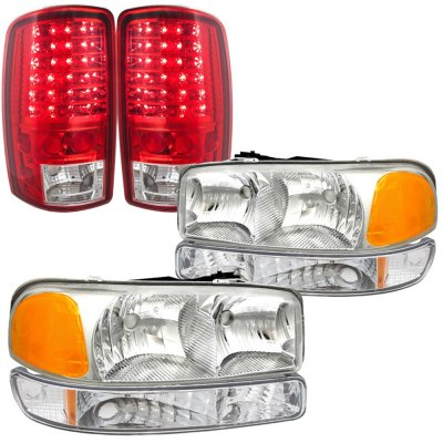 GMC Yukon 2000-2006 Headlights and LED Tail Lights Red Clear