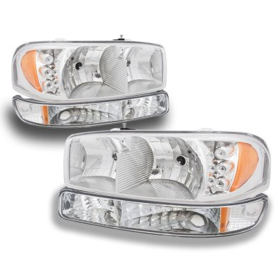 GMC Yukon 2000-2006 Clear LED DRL Headlights Set and LED Tail Lights Red Clear