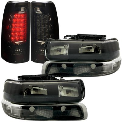 Chevy Silverado 2500 1999 2002 Black Smoked Headlights Set And Led Tail Lights A128j8h0213 Topgearautosport