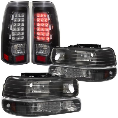 Chevy Silverado 1999-2002 Black Headlights Set and LED Tail Lights