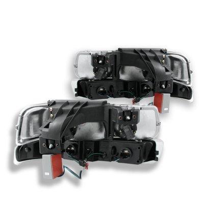 Chevy Silverado 1999-2002 Black Headlights LED DRL and LED Tail Lights