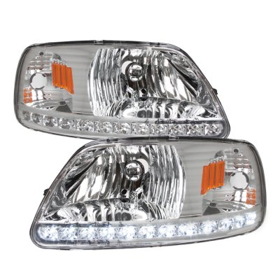 Ford F150 1997-2003 Clear LED DRL Headlights and Tinted Custom LED Tail Lights