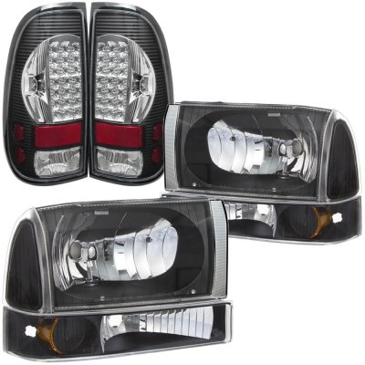 Ford F250 Super Duty 1999 2004 Black Headlights Set And Led Tail Lights Chrome A128y0m3213 Topgearautosport