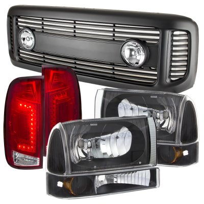 Ford F350 Super Duty 1999-2004 Black Grille Headlights Set and Custom LED Tail Lights Red Clear