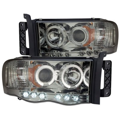 Dodge Ram 2002-2005 Smoked Halo Projector Headlights with LED