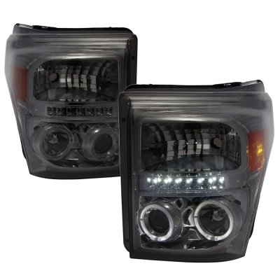 Ford F250 Super Duty 2011-2016 Smoked Halo Projector Headlights LED DRL