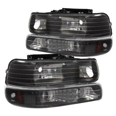 Chevy Silverado 1999-2002 Black Billet Grille and Headlights Bumper Lights
