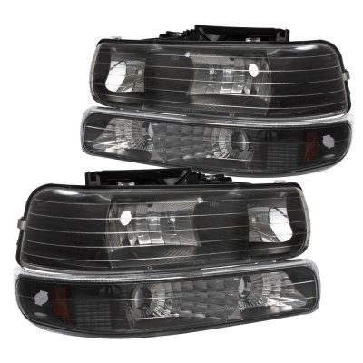 Chevy Silverado 2500 1999 2002 Black Billet Grille And Headlights Per Lights