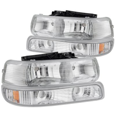 Chevy Silverado 1999-2002 Chrome Headlights and LED Tail Lights Red Clear