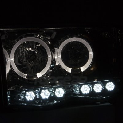Dodge Ram 2002-2005 Smoked Halo Projector Headlights and LED Tail Lights