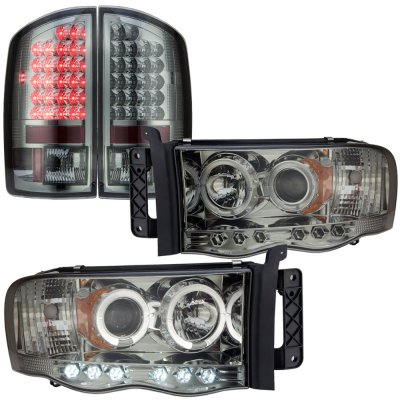 Dodge Ram 2002 2005 Smoked Halo Projector Headlights And Led Tail Lights A103j2fi101 Topgearautosport