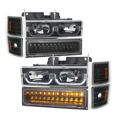 Chevy 1500 Pickup 1994 1998 Black Led Drl Headlights Set